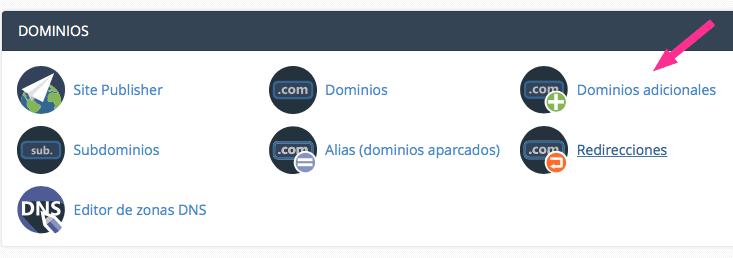 Icono de cpanel, dominios adicionales