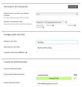 Menú de opciones de instalación de WordPress