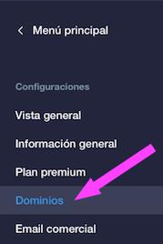 Captura de pantalla de la web de Wix