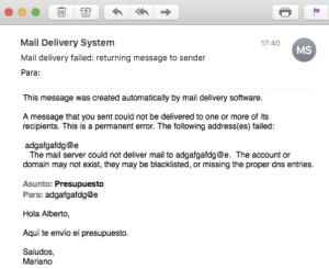 Captura de pantalla de email