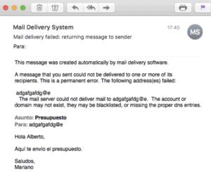 Mensaje de devolución de correo