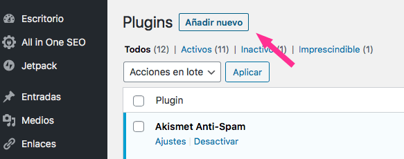 Añadir plugin de WordPress