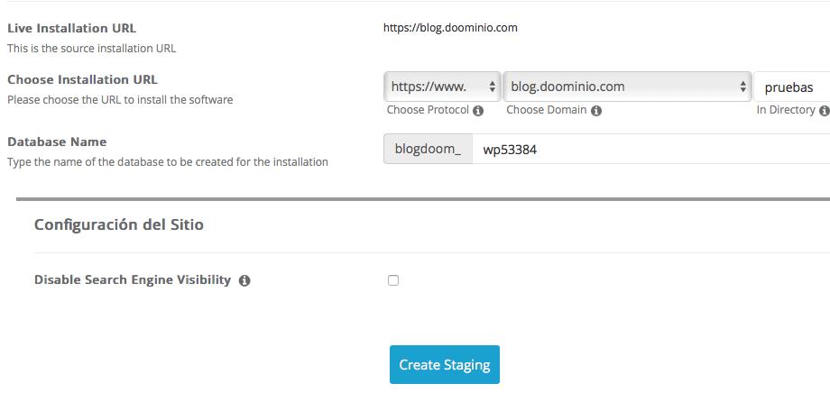 Detalles de instalación del WordPress staging